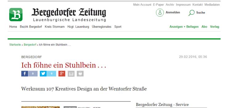 Der WERKRAUM 107 in der Bergedorfer Zeitung – Februar 2016